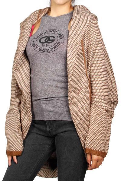 4985bca08ac5 Agel Knitwear cocoon πλεκτή ζακέτα κάμελ - w16770-br