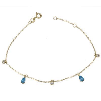 Γυναικείο βραχιόλι Κ14 με μπλε ζιργκόν 028941 028941 Χρυσός 14 Καράτια cb97e1150bd
