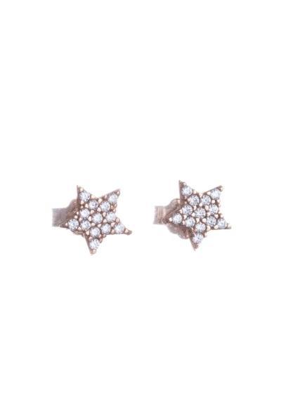 Παιδικά Σκουλαρίκια από Ροζ Χρυσό Κ14 Αστέρι με Πέτρες (NKJ) - 1209 57a08e36823