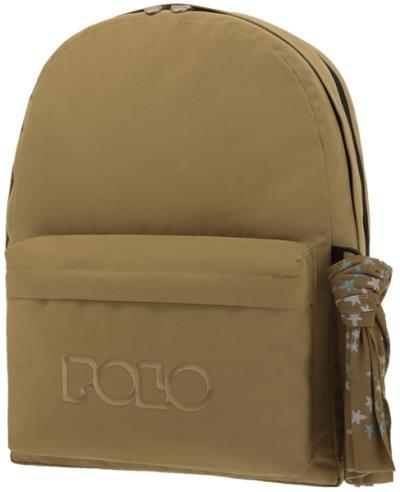 557ffa80c5 POLO Σχολική τσάντα πλάτης DOUBLE SCARF Λαδί 901235-07 2019