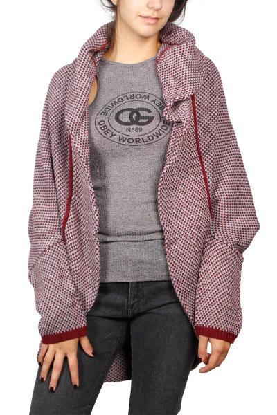 ac0fbc50a668 Agel Knitwear cocoon πλεκτή ζακέτα μπορντό - w16770-bor