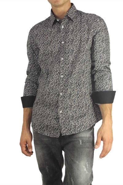 fd9740638cc Missone ανδρικό πουκάμισο μαύρο με γκρι-λευκό πριντ - 944-50