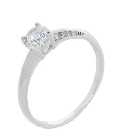Ασημένιο δαχτυλίδι CQ RG084 Μονόπετρο σε ασημί χρώμα με λευκά ζιργκόν έως 6  άτοκ 827e630086e