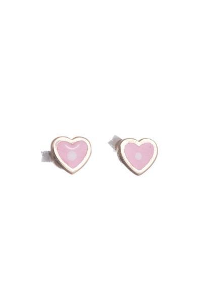 Χρυσά Παιδικά Σκουλαρίκια Κ14 Καρδιά με Ροζ Σμάλτο (NKJ) - 1212 776ad77fa17