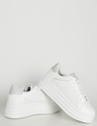 49397c6700b Γυναικεία λευκά ασημί δίσολα Sneakers λευκή σόλα 186750L