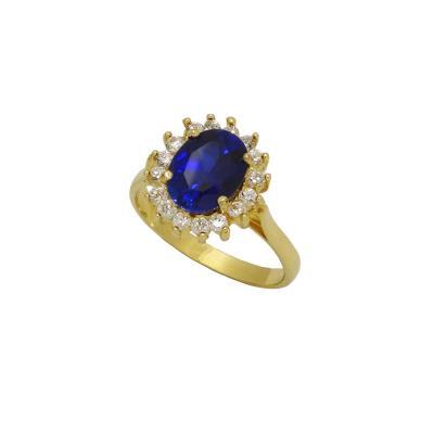 Δαχτυλίδι Ροζέτα Κ 14 με λευκά και μπλέ ζιργκόν 9790ce54a97