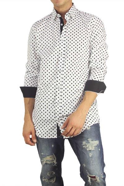 Missone ανδρικό πουκάμισο λευκό με μαύρο πουά - 833-wh-blk e34fb739dcf