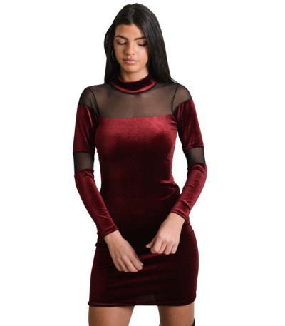 2b191a732c44 Φόρεμα βελούδινο με διαφάνεια (Μπορντό)
