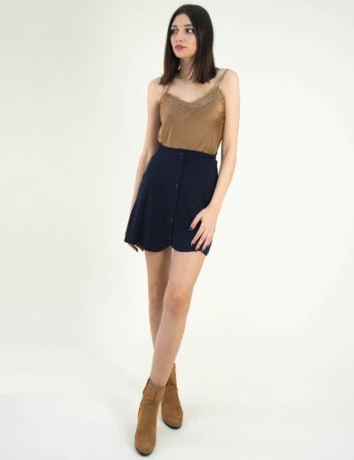 0816acc8abe Γυναικεία μίνι υφασμάτινη φούστα So Sexy μπλε με κουμπά 12620