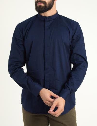 Ανδρικό μπλέ σκούρο πουκάμισο με μάο γιακά Firenze 0191120D c1554e3e024
