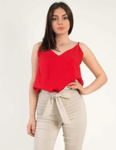 f1bfef9c1f88 Γυναικείο κόκκινο τοπ ραντάκι μονόχρωμο Coocu 36765Q