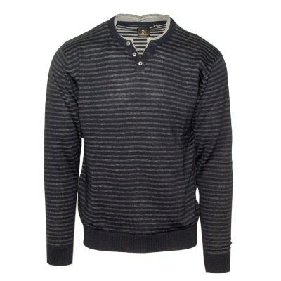 d5c4a597b491 71428-03 Ανδρική πλεκτή μπλούζα με V - Μπλέ navy melange