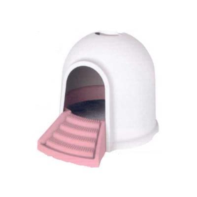 cc78bb46f781 M-pets igloo cat litter box-2 in 1 White   Pink