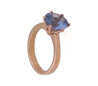 Jt Μονόπετρο δαχτυλίδι με ροζ χρυσό και μπλε ζιργκόν 9mm 48312ed9821