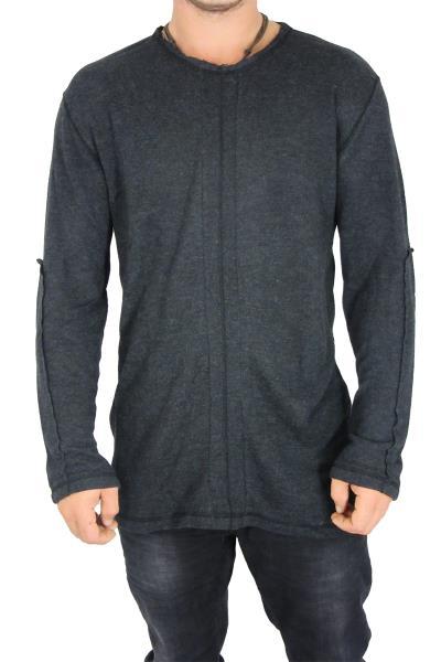 Ανδρική longline πλεκτή μπλούζα Jason ανθρακί - oz-8261 89a0233437a