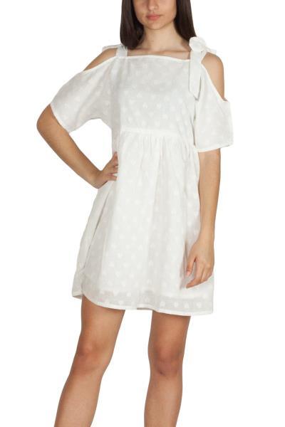 2d3f4149c9e5 Pepaloves Hearts έξωμο μίνι smock φόρεμα λευκό - 108849