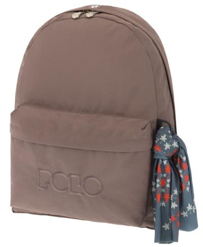 f653206ad5 Σχολική τσάντα POLO CLASSIC με Μαντήλι Καφέ 9-01-135-09 (2018)