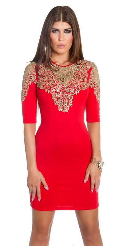 41681 FS Μίνι φόρεμα με χρυσή δαντέλα - κόκκινο b73f63a3811