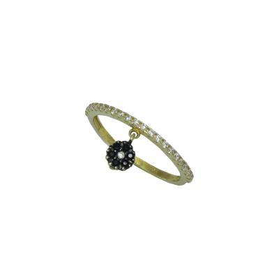 Γυναικείο Δαχτυλίδι δiπλής όψης 14Κ Κίτρινο Χρυσό με λουλουδάκι και με λευκά  κα 4fd2b9b4abb