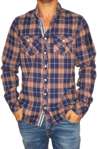 Ανδρικό μπλε-καφέ καρό πουκάμισο φανέλα - 10556-br a1498f0f091