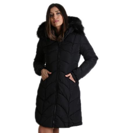 Παρκά μαύρο γυναικείο μεσάτο με γούνα στην κουκούλα c43b420b80b