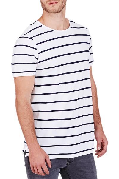 3a40c23508cc Minimum ανδρικό ριγέ t-shirt Ware λευκό-μπλε - 122700088-wh