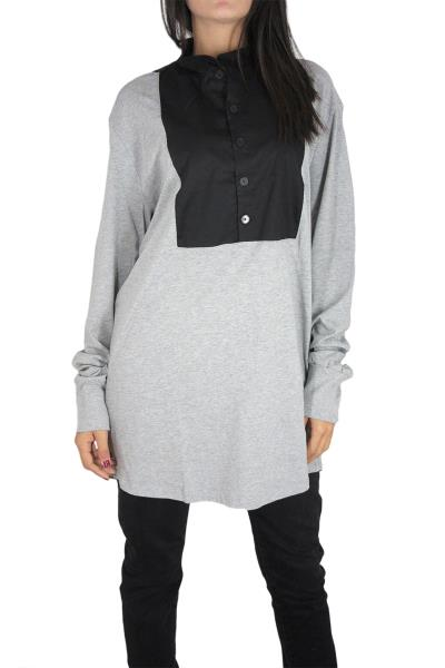 6b0077d1b48a Minimarket super longline μπλούζα γκρι με γιακά μάο
