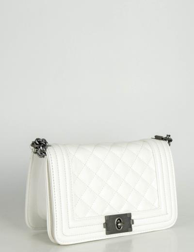 Γυναικεία λευκή τετράγωνη τσάντα με καπιτονέ σχέδιο PB206W ce12a710348