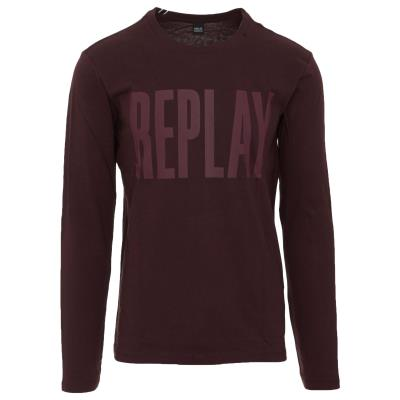 REPLAY M LS TOP - M3595 .000.2660-268 BURGUNDY 83327c9bfb8