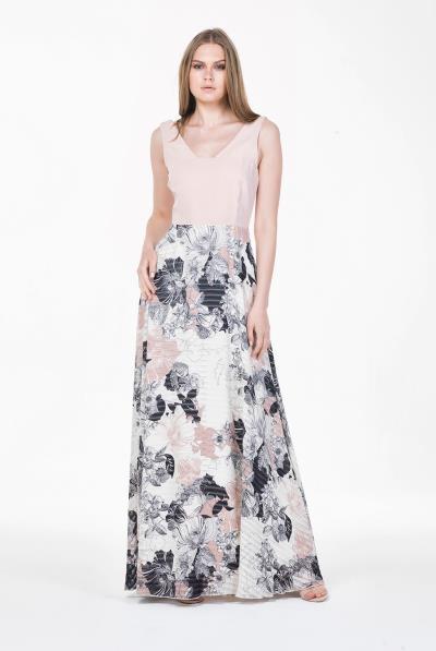 b1741320d5fe Φόρεμα μάξι 2χρωμο φούστα floral οργάντζα - 18109