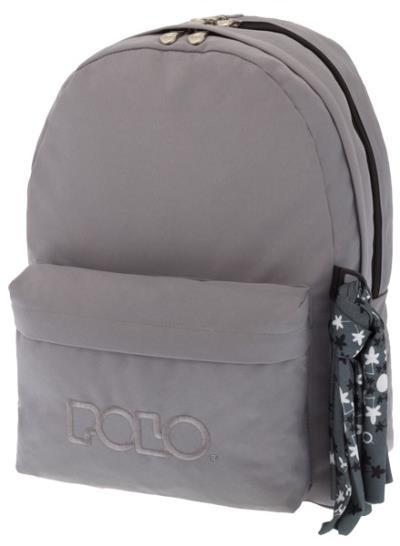 bc67c2d4a46 Σχολική τσάντα POLO πλάτης DOUBLE SCARF Γκρι 9-01-235-09