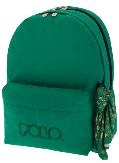 32dc205b1a2 Σχολική τσάντα POLO πλάτης DOUBLE SCARF Πράσινη 9-01-235-15