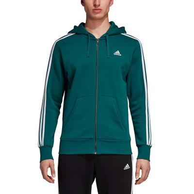 adidas Performance Essentials 3-Stripes Hoodie DN8800 - DARK GREEN WHITE e4d846851fe