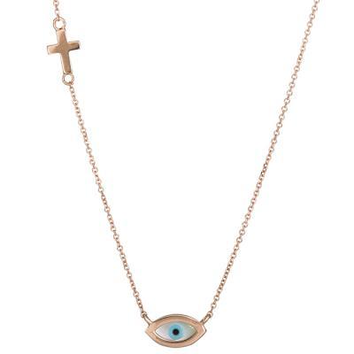 Ροζ gold κολιέ με ματάκι και σταυρό Κ14 026436 026436 Χρυσός 14 Καράτια e54ff413871