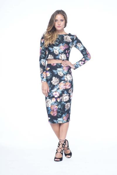 Φούστα εμπριμέ floral μίντι στενή - 15530 f2e2a66254b