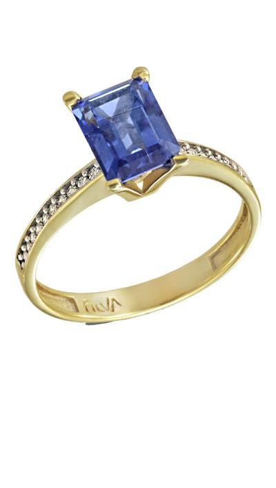 Δαχτυλίδι μονόπετρο χρυσό 14 καράτια με ορυκτό μπλε ζαφείρι swarovski® 3eb9528cf15