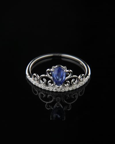 Δαχτυλίδι στέμμα λευκόχρυσο Κ18 με Διαμάντια   Ζαφείρι 685783134eb