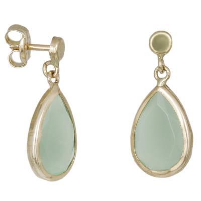 d563c483f1 Γυναικεία σκουλαρίκια Κ14 δάκρυ με πράσινη ζιργκόν 032166 032166 Χρυσός 14  Καράτ