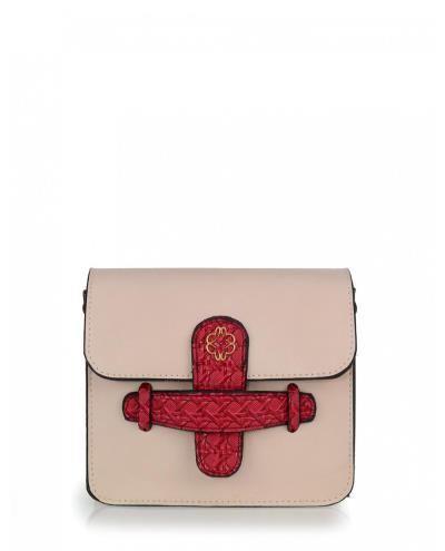 Τσάντα χιαστι veta nude σε συνδυασμό με κόκκινο (5033-11) 6dac75d0cca