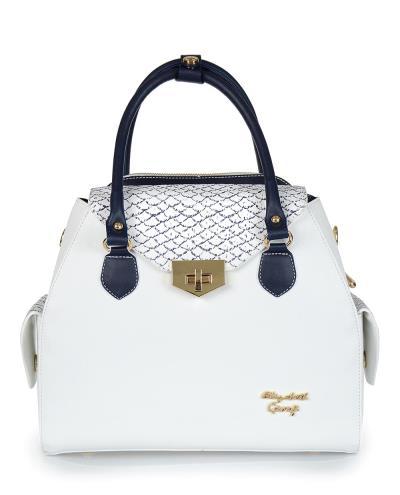 Τσάντα χειρός Veta λευκή σε συνδυασμό με μπλε λεπτομέρειες b0126ca8956
