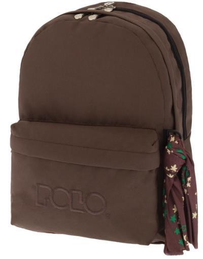 653a1128f23 Σχολική τσάντα POLO πλάτης DOUBLE SCARF Καφέ 9-01-235-36