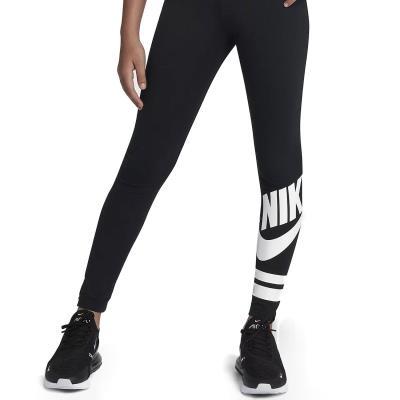 7fd6201e1c88 Nike Sportswear Girl s Leggings 939447-010 - BLACK WHITE