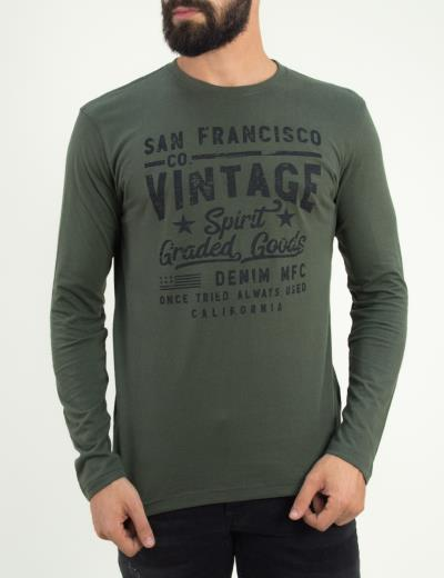 4769355b4e1e Ανδρική χακί βαμβακερή μακρυμάνικη μπλούζα Green Wood 02K901082F