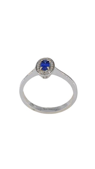 Δαχτυλίδι μονόπετρο λευκόχρυσο 18 καράτια με μπριγιάν 0.06ct και ζαφείρι  0.32ct 7f2fb705fc6