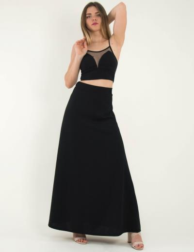 fd6bf01bf2e5 Γυναικείο μαύρο σετ μάξι φούστα τοπ ραντάκι 261611