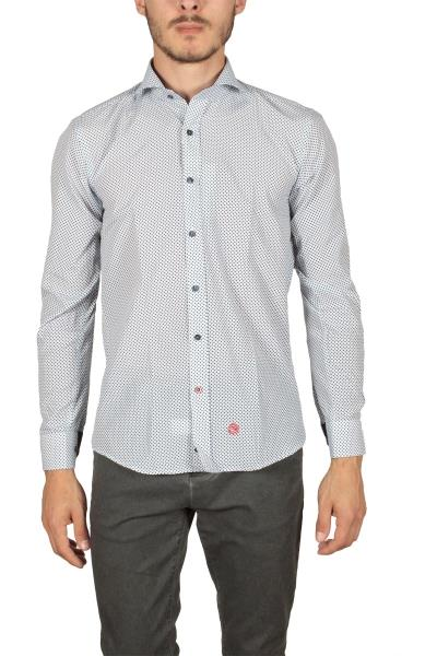 Miitos ανδρικό πουκάμισο λευκό με μπλε πριντ - m-107-p fa0ee7bf922