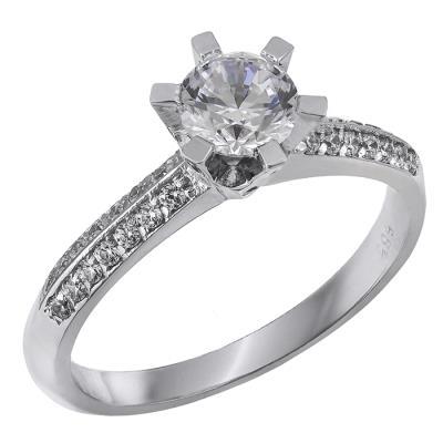 Μονόπετρο δαχτυλίδι Κ14 με πέτρες ζιργκόν 028866 028866 Χρυσός 14 Καράτια 154fc0fa616