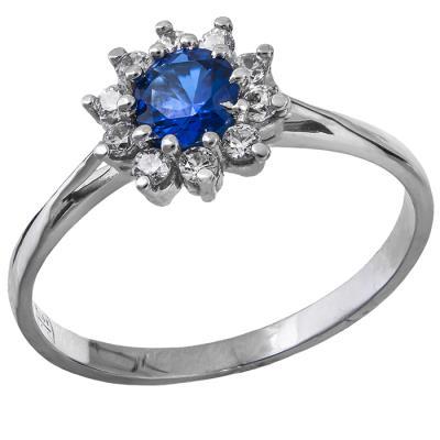 Λευκόχρυσο δαχτυλίδι Κ14 ροζέτα με μπλε πέτρα 029019 029019 Χρυσός 14  Καράτια 8f3bbef4cb1