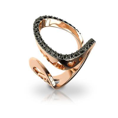 Ασημένιο δαχτυλίδι 925 με μαύρες πέτρες Swarovski AD-16009R2 fda2f117778