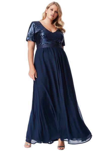 1f63d97d3c96 plus size αέρινο paillette   chiffon maxi φόρεμα σε μπλε navy